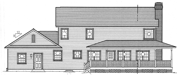 Country Farmhouse Southern Traditional House Plan 24403 Rear Elevation