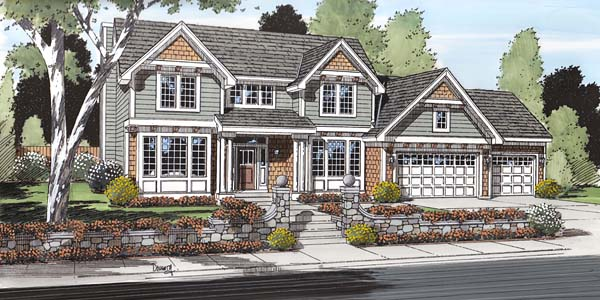 Colonial Craftsman European Traditional House Plan 24567 Elevation