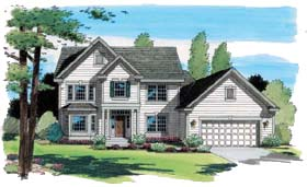 Traditional Two-Story Country Southern House Plan: