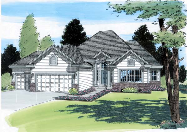 European Ranch Traditional House Plan 24588 Elevation