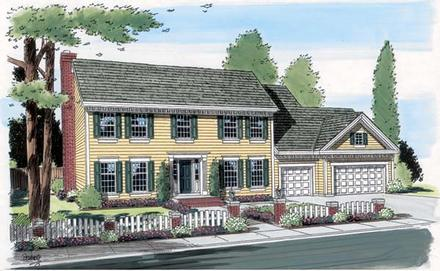 Colonial, Southern, Traditional House Plan 24590 with 4 Beds, 3 Baths, 3 Car Garage