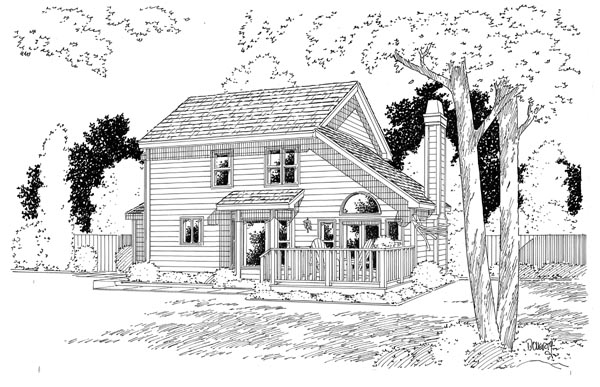Country Traditional Rear Elevation of Plan 24654