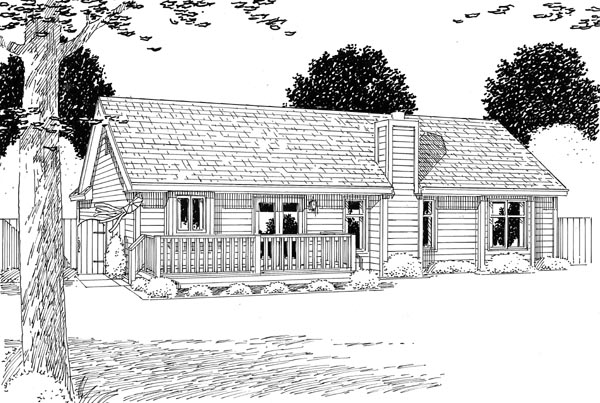Cottage Country Ranch Traditional House Plan 24700 Rear Elevation