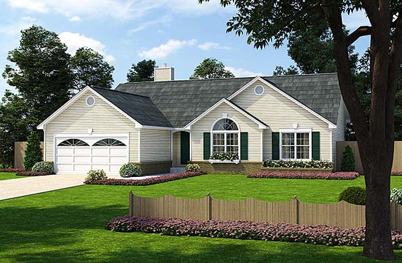 One-Story, Ranch, Traditional House Plan 24701 with 3 Beds, 2 Baths, 2 Car Garage Elevation