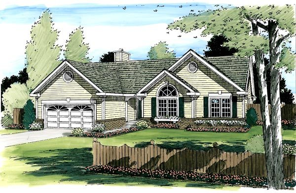 One-Story, Ranch, Traditional House Plan 24701 with 3 Beds, 2 Baths, 2 Car Garage Picture 1