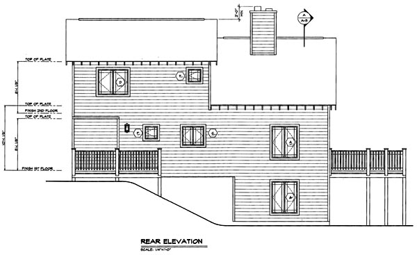 Contemporary House Plan 24704 with 3 Beds, 3 Baths Rear Elevation