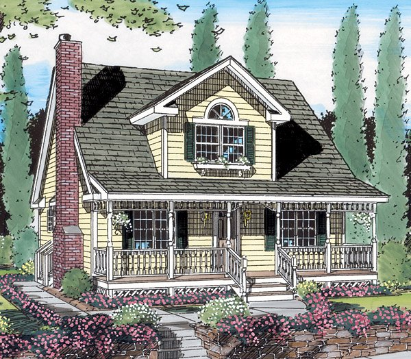 Cottage Country Farmhouse Southern House Plan 24706 Elevation