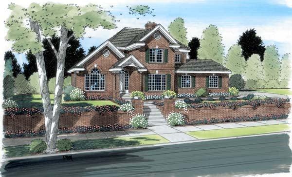 European Traditional House Plan 24710 Elevation