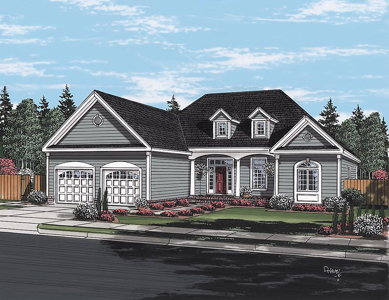 Cape Cod European Ranch Traditional House Plan 24716 Elevation