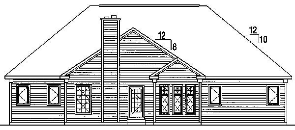 Cape Cod European Ranch Traditional House Plan 24716 Rear Elevation