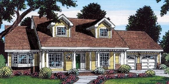Cape Cod, Country, Traditional House Plan 24726 with 3 Beds, 2 Baths, 2 Car Garage Elevation