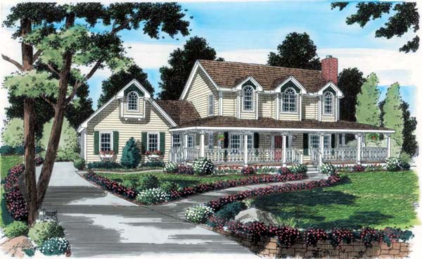 Country Farmhouse Southern Traditional House Plan 24734 Elevation