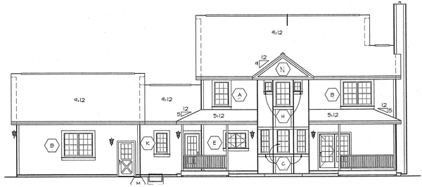 Bungalow Country Farmhouse Southern House Plan 24735 Rear Elevation