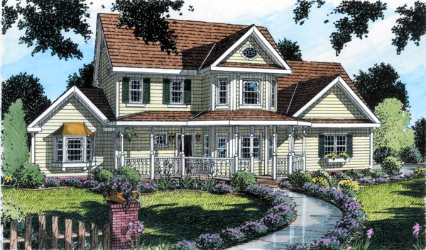 Country Farmhouse Southern Traditional House Plan 24736 Elevation