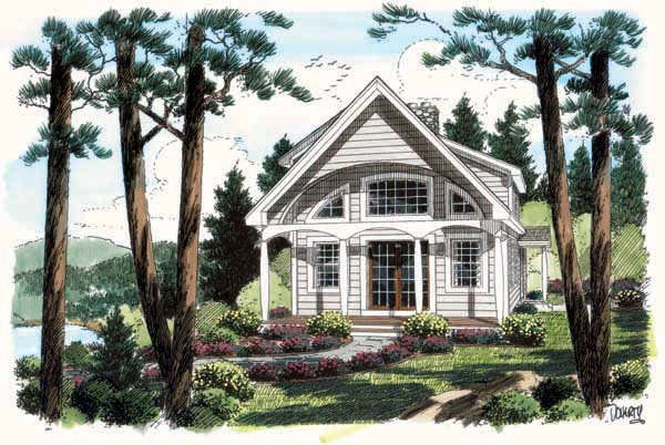 Coastal Contemporary Cottage House Plan 24740 Elevation