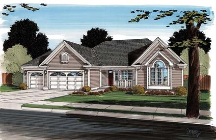 Contemporary Ranch Traditional Elevation of Plan 24745