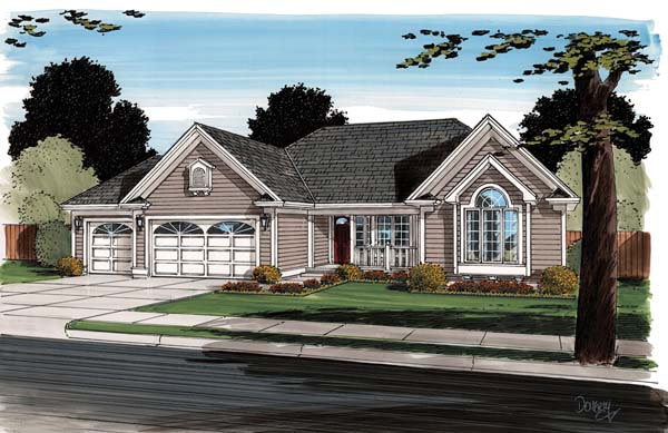 Contemporary Ranch Traditional House Plan 24745 Elevation