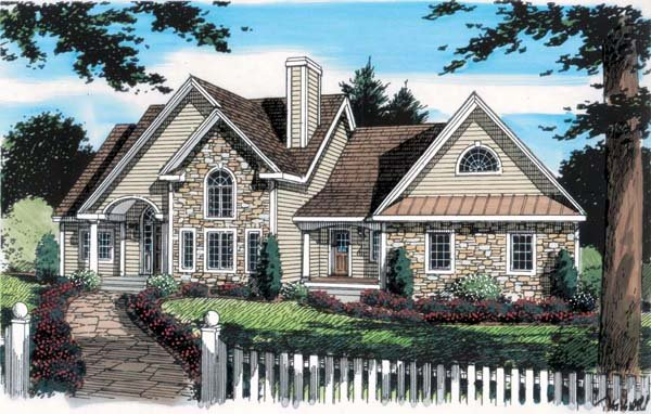Bungalow, Country, European, One-Story, Traditional House Plan 24748 with 3 Beds, 3 Baths, 2 Car Garage Elevation