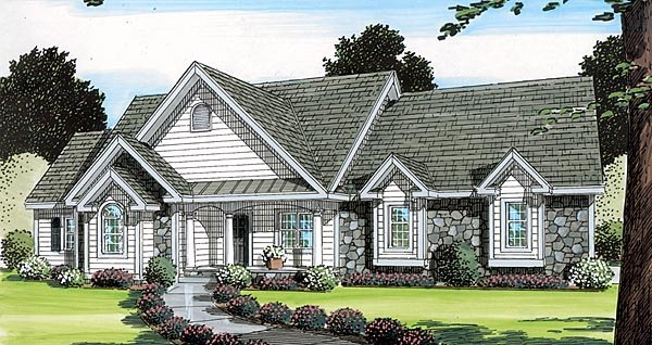 Bungalow Country European Ranch Southern Traditional House Plan 24749 Elevation