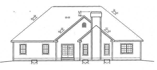 Bungalow Country European Ranch Traditional House Plan 24751 Rear Elevation