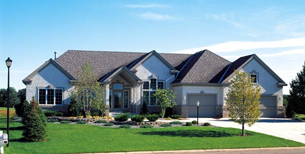 Contemporary Ranch Traditional Elevation of Plan 24802