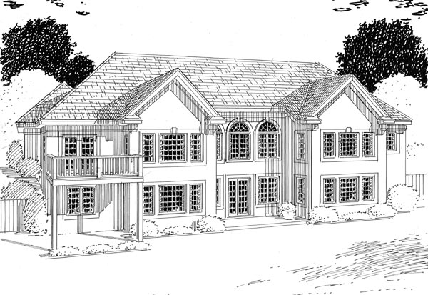 Contemporary Ranch Traditional Rear Elevation of Plan 24802
