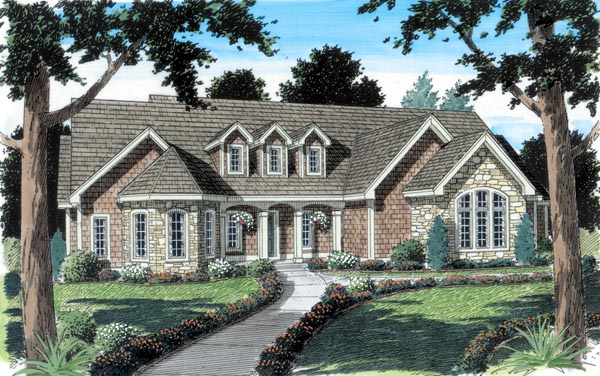 Country European Ranch Traditional House Plan 24952 Elevation