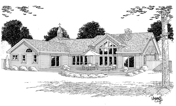 Bungalow European Ranch Traditional House Plan 24953 Rear Elevation