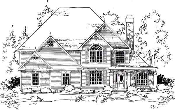 European Traditional House Plan 24958 Elevation