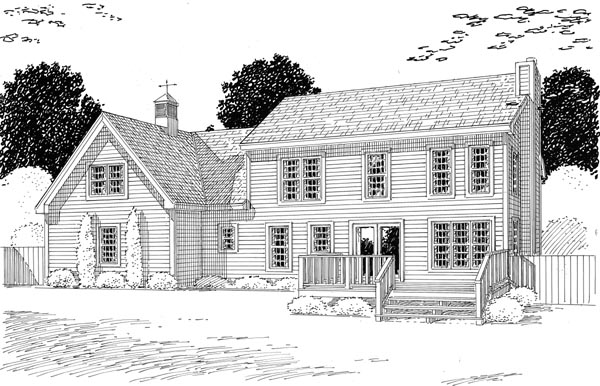 Colonial Country Traditional House Plan 24966 Rear Elevation