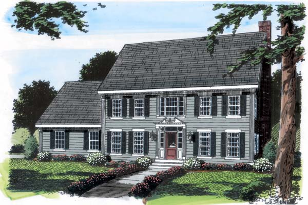 Colonial House Plan 24970 Elevation