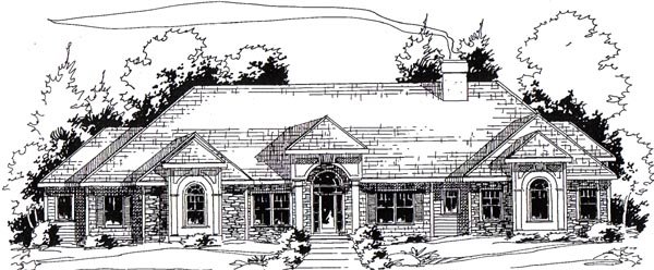 European Traditional House Plan 24972 Elevation