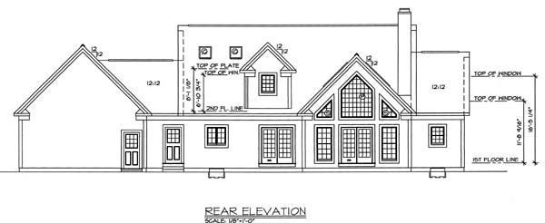 Bungalow Country Traditional House Plan 24989 Rear Elevation