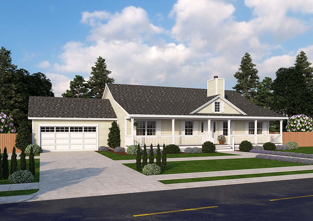 Country Ranch Traditional House Plan 25103 Elevation