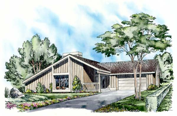 Contemporary Ranch House Plan 26740 Elevation