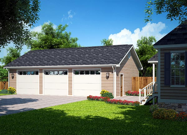 Garage Plan 30002 3 Car Garage Traditional Style