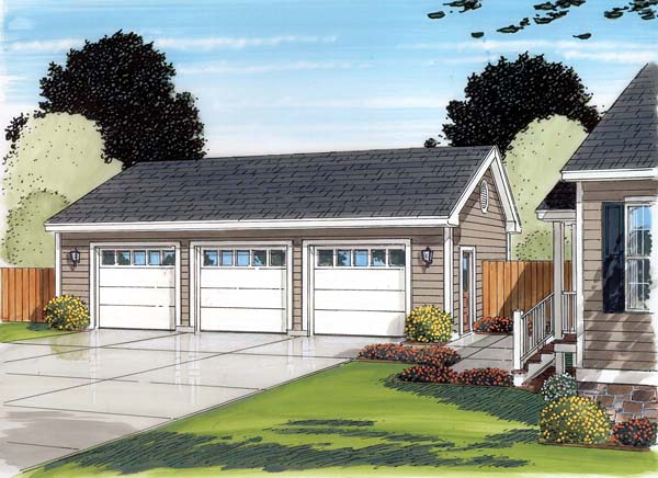 Country, Ranch, Traditional 3 Car Garage Plan 30002 Picture 1