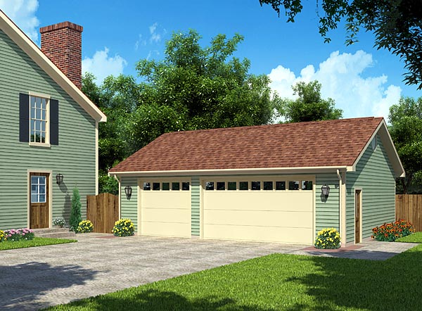 Cottage, Country, Ranch, Traditional 3 Car Garage Plan 30003 Elevation