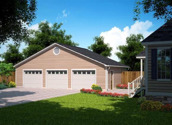 Ranch, Traditional 3 Car Garage Plan 30004 Elevation