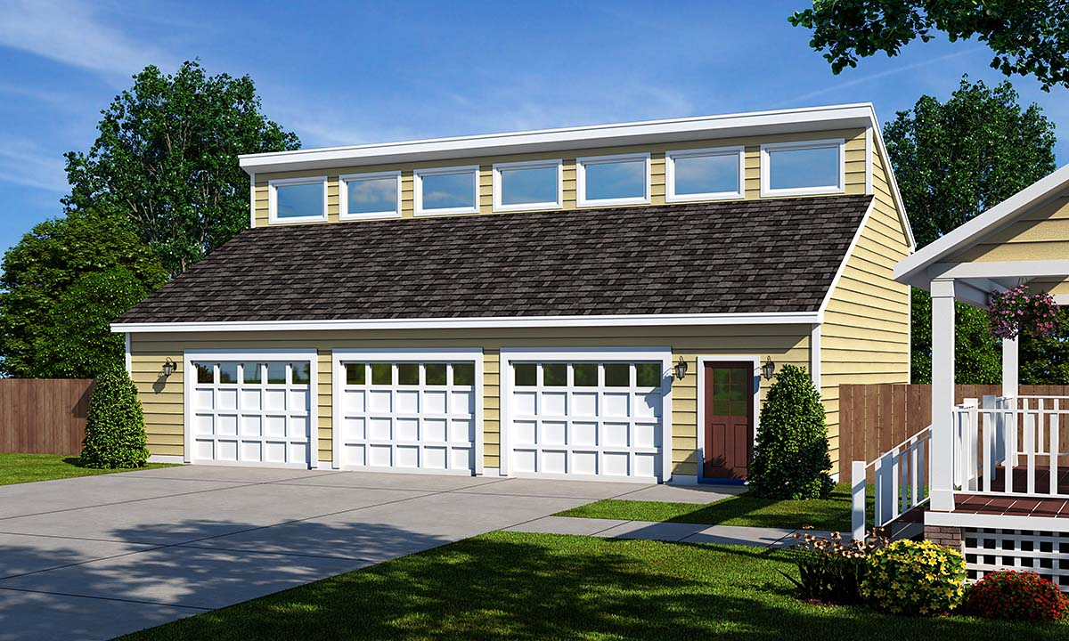 Contemporary 3 Car Garage Plan 30013 Elevation