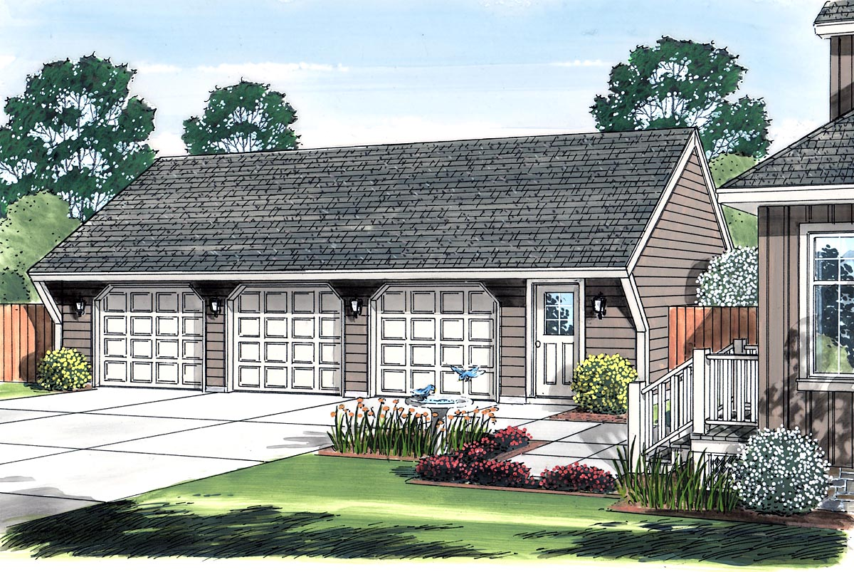 Cape Cod, Saltbox, Traditional 3 Car Garage Plan 30023 Picture 1
