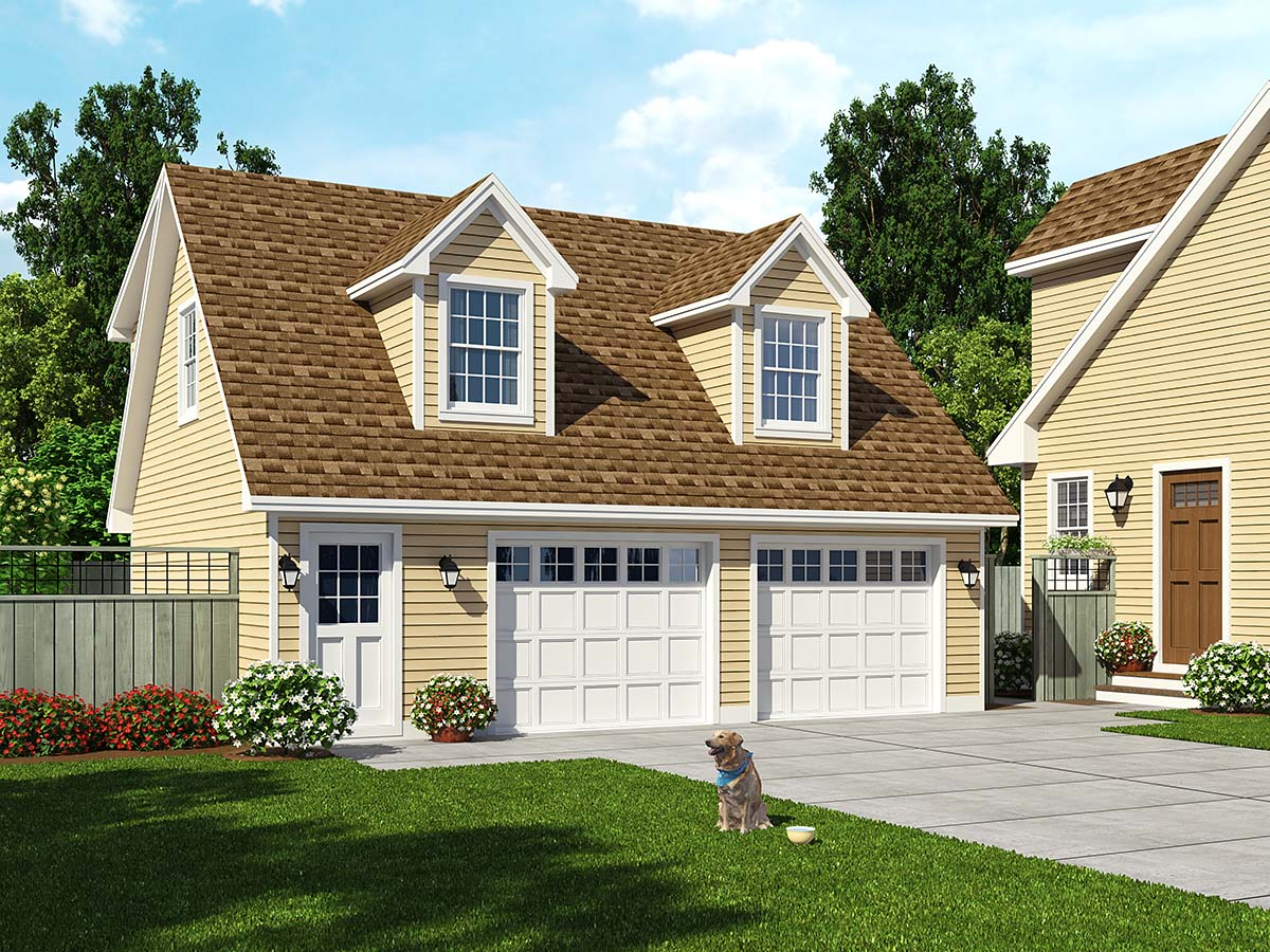 Saltbox Style 2 Car Garage Apartment Plan Number 30030 with 1 Bed, 1 Bath