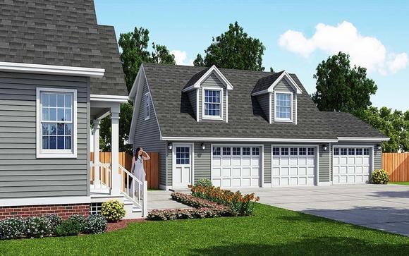 Cape Cod, Saltbox, Traditional 3 Car Garage Apartment Plan 30033 Elevation