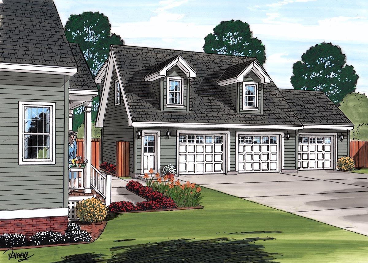 Cape Cod, Saltbox, Traditional 3 Car Garage Apartment Plan 30033 Picture 1