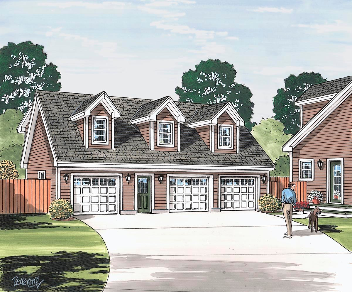 Cape Cod, Saltbox, Traditional Garage-Living Plan 30034, 3 Car Garage Picture 1