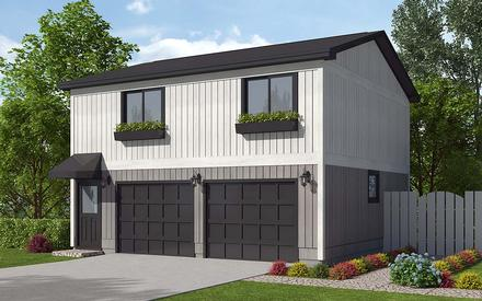 Contemporary, Traditional 2 Car Garage Apartment Plan 30040 with 2 Beds, 1 Baths