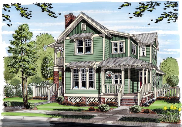 bungalow coastal cottage country farmhouse traditional house plan 30501 elevation - Traditional House Plans