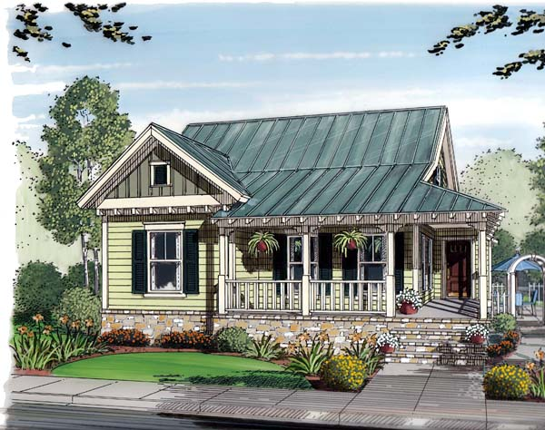 Elevation of Bungalow   Cottage   Country   House Plan 30502