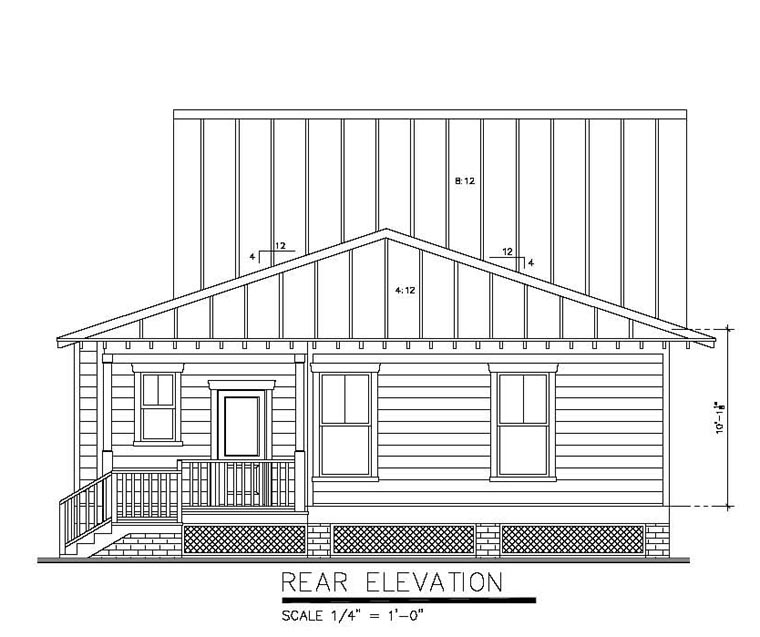 Rear Elevation of Bungalow   Cottage   Country   Narrow Lot   House Plan 30502