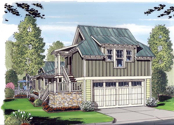 Elevation of Bungalow   Cottage   Craftsman   Garage Plan 30503